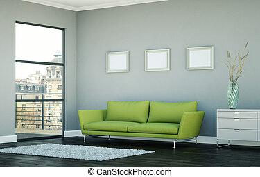 sala, sofá, modernos, luminoso, desenho, interior, verde