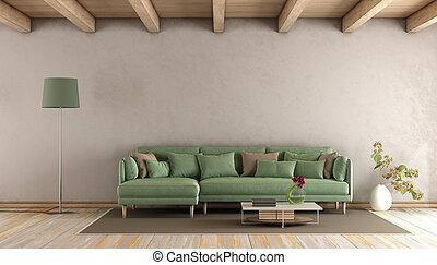 sala, sofá verde, vivendo