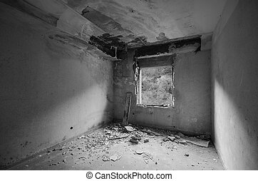 sala, spooky, dentro, janela, pretas, branca, abandonado