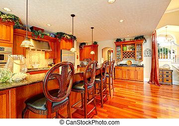 sala, tamboretes, madeira, esculpido, ricos, luxo, cozinha