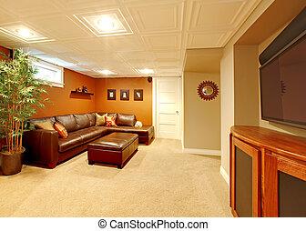 sala, televisión, medios, sofa., cuero, sótano