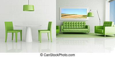 sala, verde, vivendo, branca