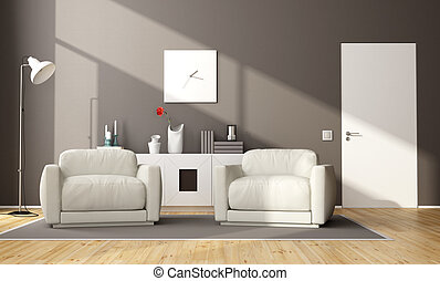 sala, vida moderna, marrom