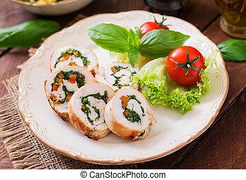 salad., 鶏, 緑になる, 回転する, 装飾される