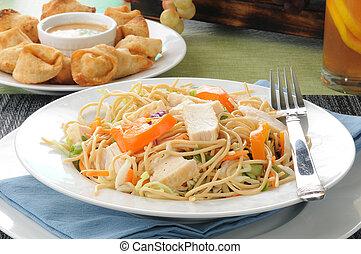 Salad and crab rangoon
