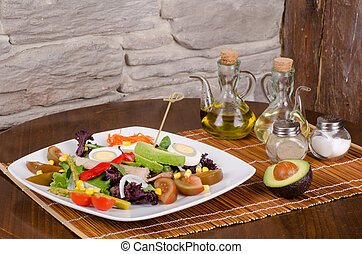 Salad and dressing - Freshly made salad with ingredients to ...