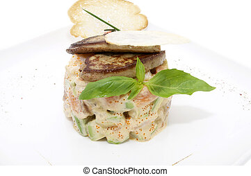 Salad and fish roe - salad, fish and eggs decorated with ...