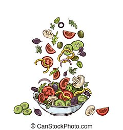 Salad background. Hand drawn healthy food ingredients. Mushrooms cucumbers, tomatoes olives and lettuce leaves. Vector vegetarian meal