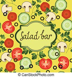 Vegetable Mushroom And Salad Leaf Poster Design