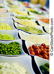 Salad Bar Vegetables - A selection of cut vegetables for a...