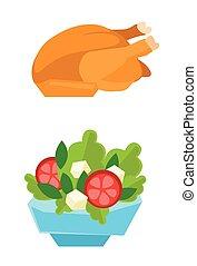 salad., bol poulet, rôti