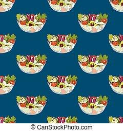 Salad Bowl Healthy Food Seamless on Indigo Blue Background