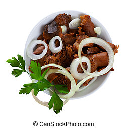 White salad bowl with canned red pine mushrooms, white onions and fresh green parsley. Isolated over white background