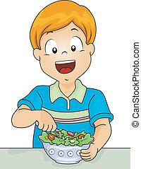Salad Boy - Illustration of a Little Boy Digging in a Salad...
