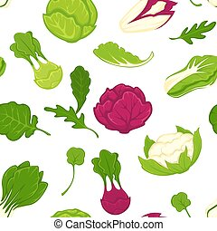 Salad cabbages vector seamless pattern background
