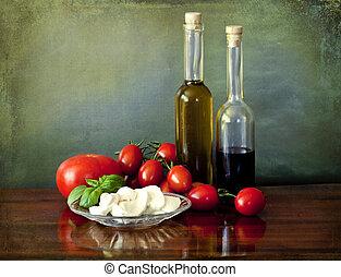 Salad Capri style: tomatoes, mozzarella, basil