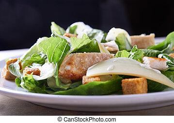 salad ceaser with chicken close up. shallow doff