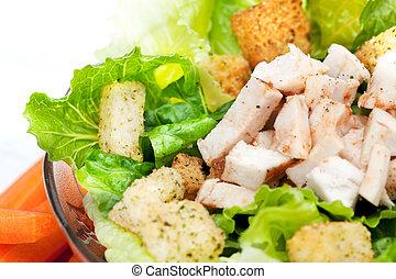 Salad Chicken Detail - A chicken caesar salad detail