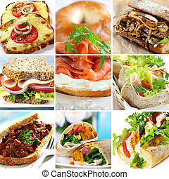 Collage of sandwiches, including smoked salmon, beef, ham, turkey, chicken, and vegetables. Wraps, baguettes, bagels, wholewheat bread.