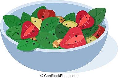 salad., concept, manger, illustration., plat, sain, vecteur, fruits