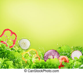 salad., concept, sain, wellness, nourriture, frais