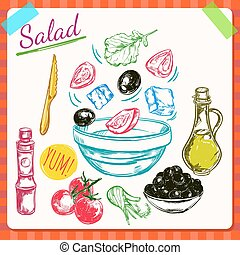 Salad Cooking Process Illustration