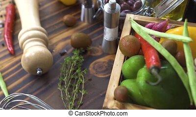 salad., coup traquant, coloré, assaisonnement, légumes, composition, régime, nourriture., préparation, arrière-plan., frais, végétarien, fitness, bois, concept., sain, ingrédient