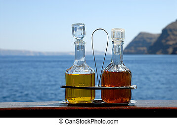 Salad dressing in a restaurant in Greece