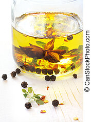 Salad Dressing - Salad dressing in the making. A jar with ...