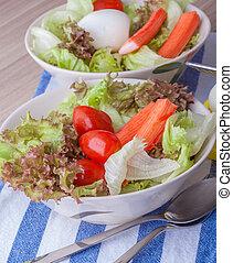 Salad egg on white background