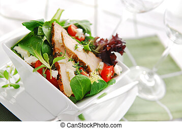 Salad - Fresh green salad with grilled chicken herbs and ...