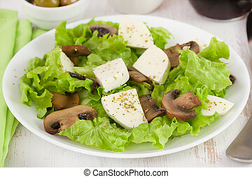 salad fried mushrooms with cheese mozzarella