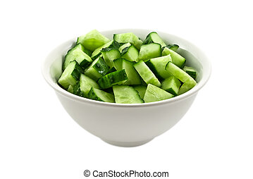 Salad from fresh cucumbers in ceramic bowl