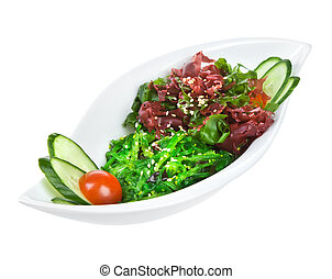 Salad from sea seaweed (chucky) isolated on a white ...