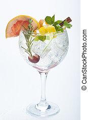 salad fruit gin tonic isolated over white background