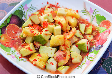 Salad fruit thai style / Slice of fresh fruit mixed with guava tomato pineapple and apple spicy salad