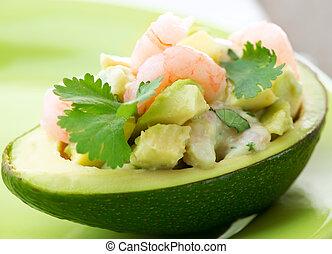 salad., garnalen, avocado, voorgerecht