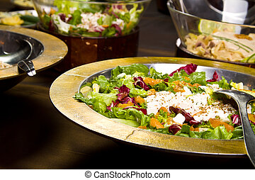 Salad - Healthy salad with veggies and feta (focus in the...