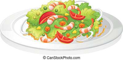 Salad - illustration of a salad on a white background
