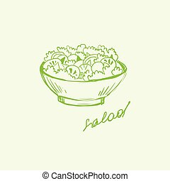 Salad in a Bowl. Handdrawn Vector Illustration with Text