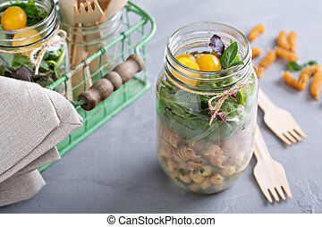 Salad in a jar food to go - Salad in a jar with pasta and...