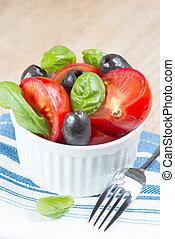 Salad in bowl close up