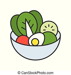 salad in bowl, food and gastronomy set, filled outline icon