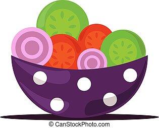 Salad in bowl, illustration, vector on white background.