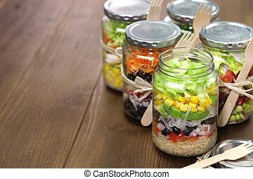 salad in glass jar - homemade healthy salad in glass jar