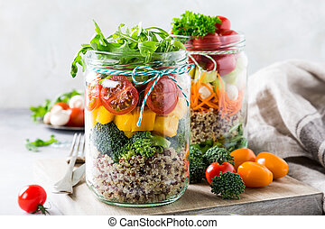 Salad in glass jar with quinoa - Glass jar with quinoa and...