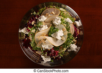 Salad in glass plate