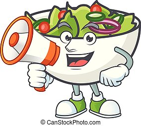 Salad in the a bowl with holding megaphone mascot