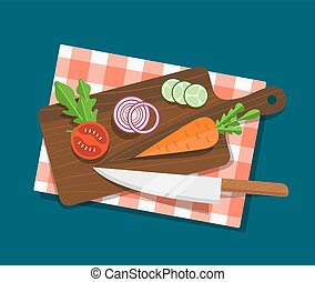 Salad ingredients on cutting board vector set. Salad ingredients with knife vector illustration. Vegetables on table for salad. Vegetables for mixing salad. Salad ingredients top view.