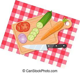 Salad ingredients on cutting board